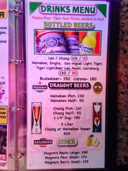 Beer Bar Drink Prices