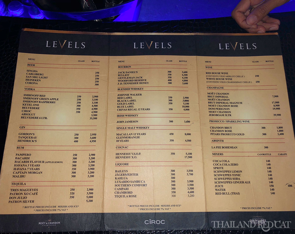 Bangkok Night Club Prices 2