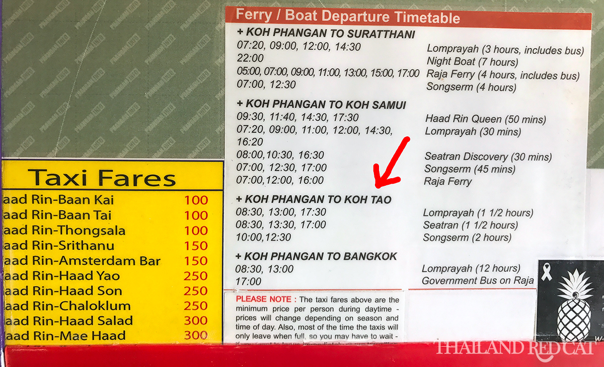Koh Phangan to Koh Tao Ferry Timetable